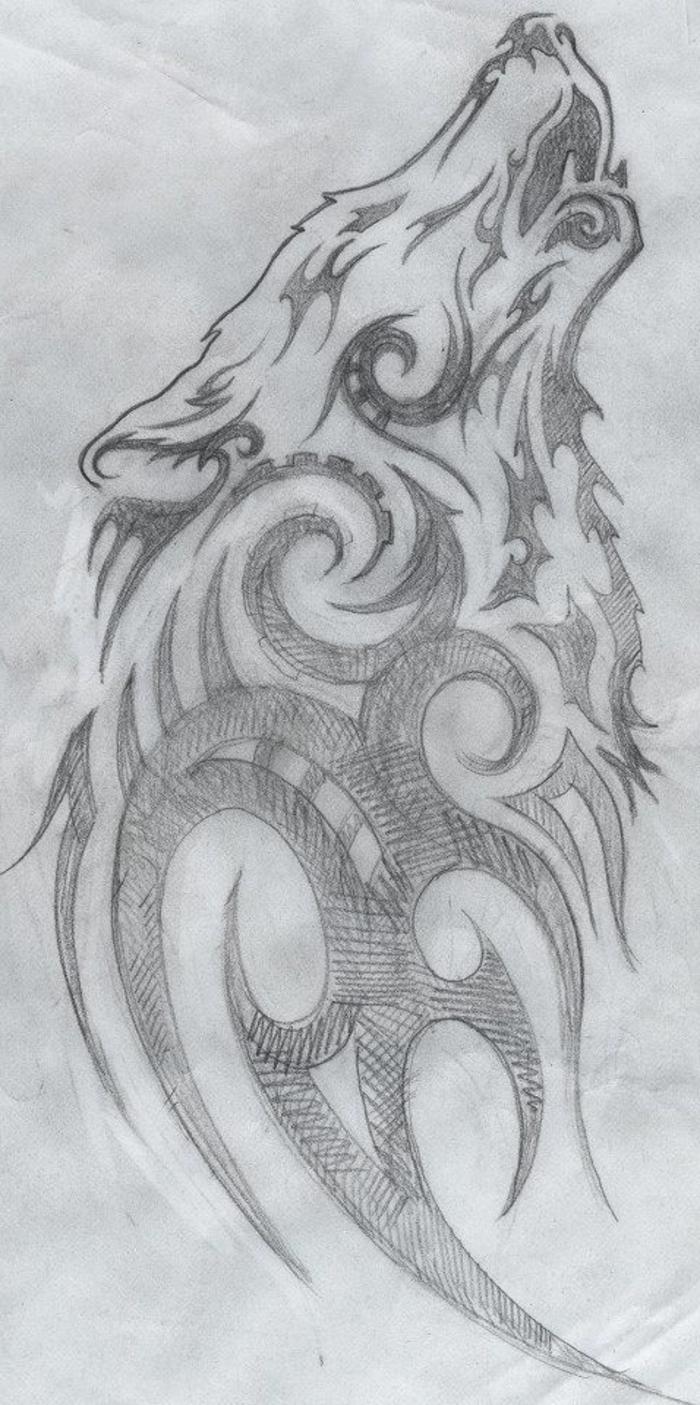 ein wolf, der heult, ist immer eine tolle idee für einen wolf tattoo gewesen