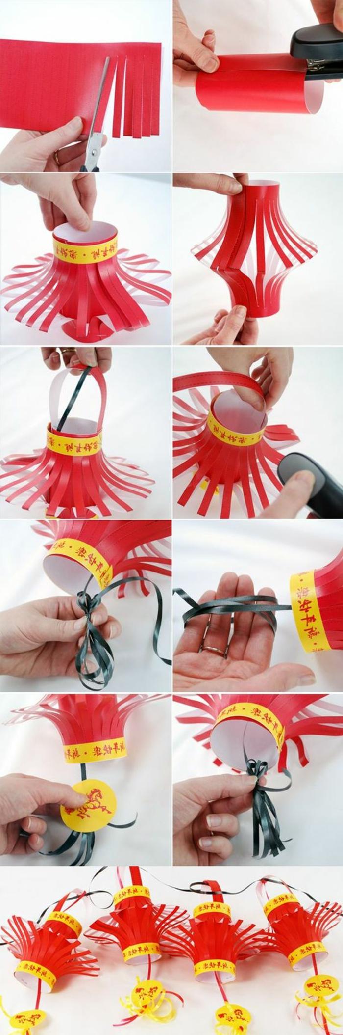 chinesische laterne selber basteln aus rotem papier