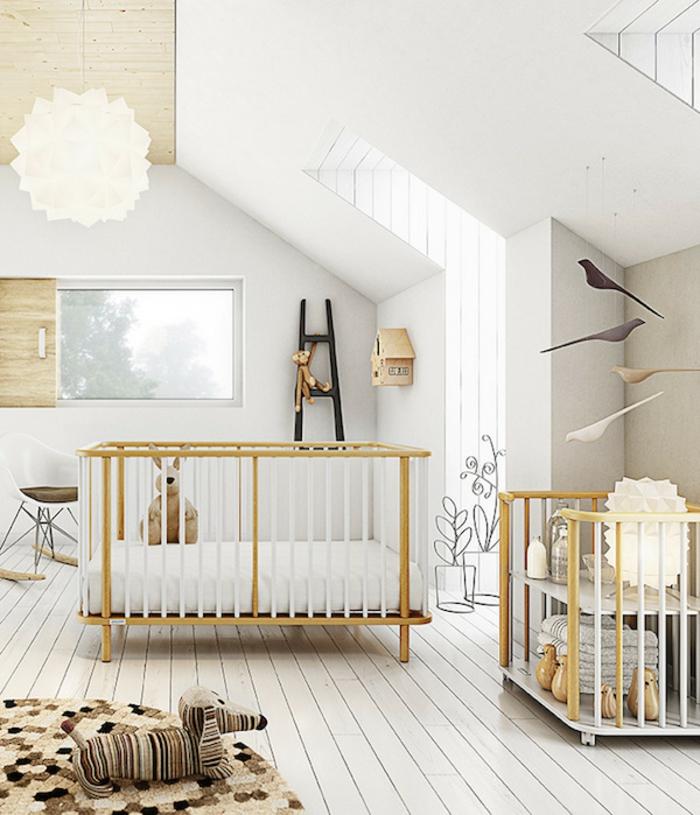 einrichtung kinderzimmer ideen dezent skandinavischer stil beige teppich hund lampe bett ideen