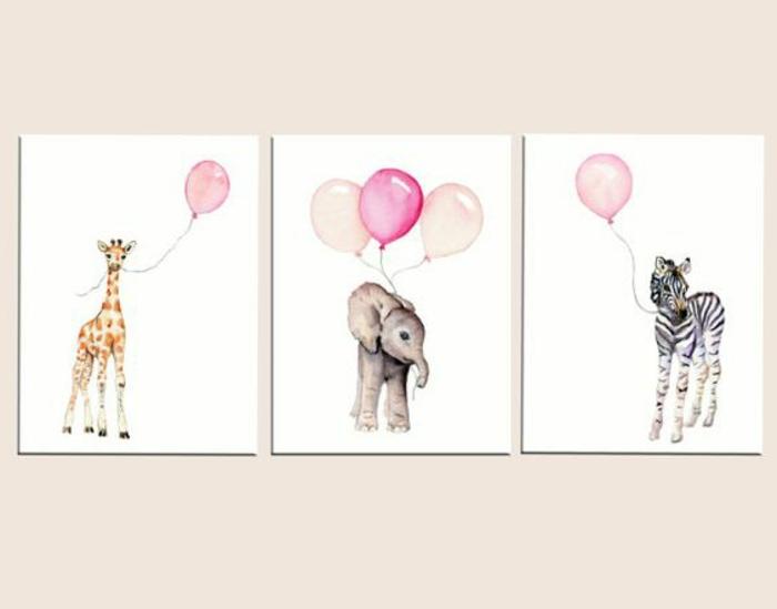 babyzimmer gestalten wanddeko für das kinderzimmer mädchen giraffe elefant zebra mit balloons bunte bilder