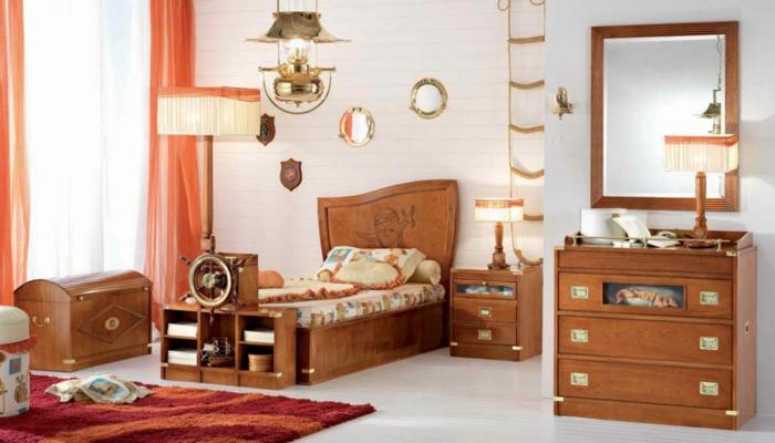 hölzernen Möbel Bett wie Schiff Spielzeugkisten wie Schatzkisten Strickleiter - Piraten Kinderzimmer