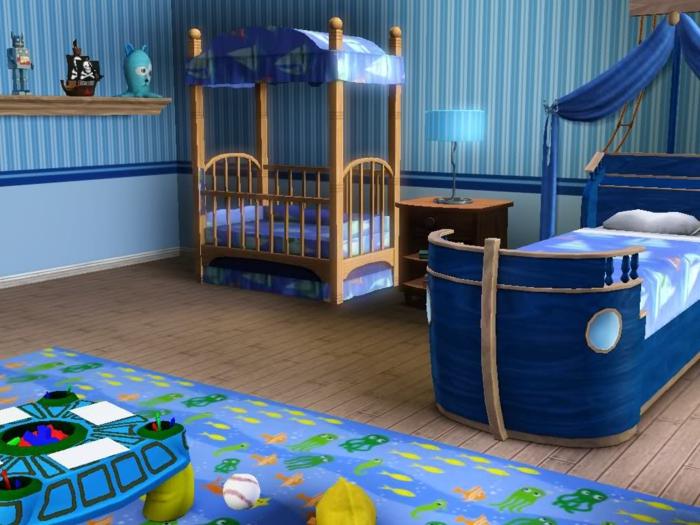 zwei Betten für Jungen - Babybett und größeres Bett in blauer Farbe - Piraten Kinderzimmer