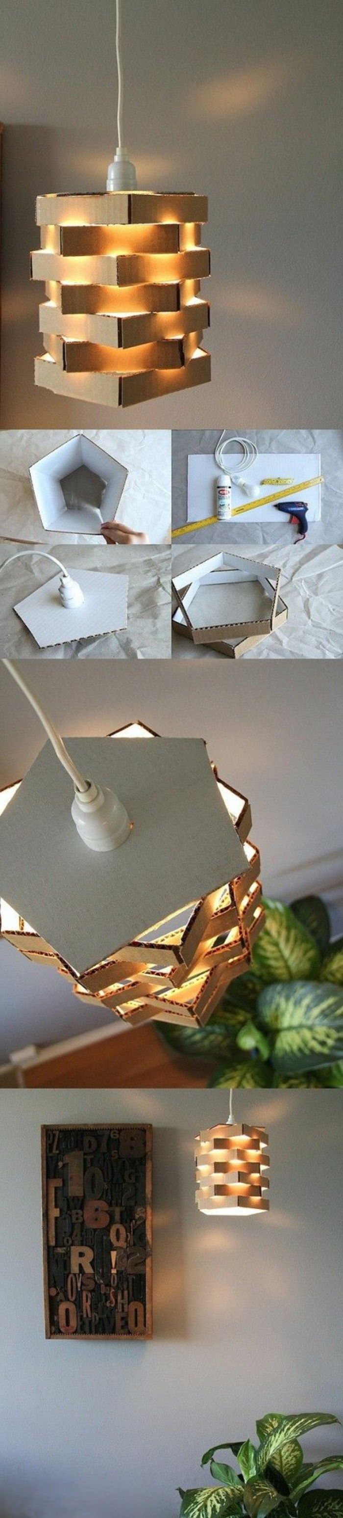 Lampenschirm selber machen: DIY Lampenschirm aus Karton, Umzugskarton, unregelmäßige Form