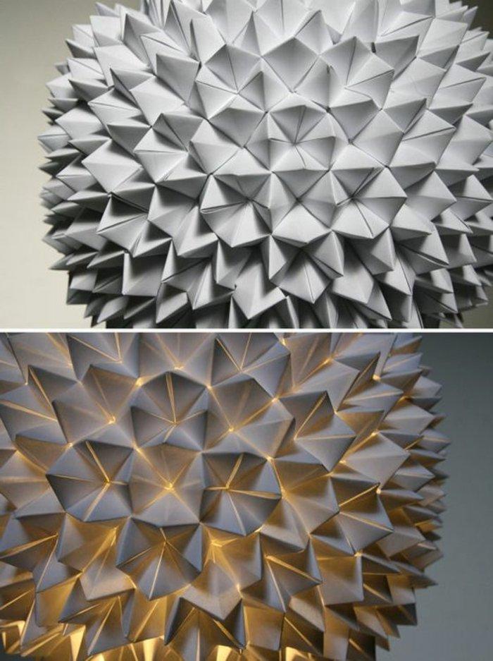 Lampen selber machen - weißes Bastelpapier, Origami-Falttechnik, runde Form, Sonne