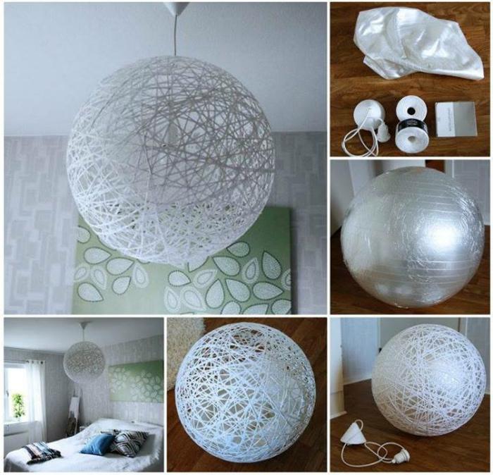 runder DIY Lampenschirm aus weißem Seil, ein Ballon in Silberfarbe, Klebstoff, Schnur, Lampenfassung