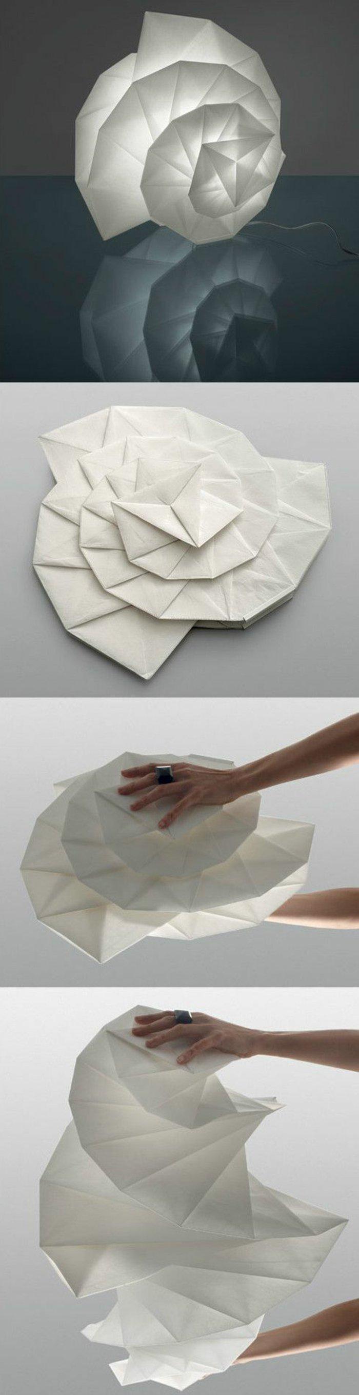 Lampe selber bauen - weißer Origami-Lampenschirm, den Sie falten können und seine Größe anpassen können