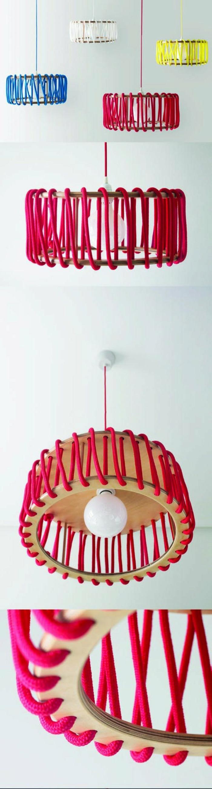selbstgemachte Lampenschirme aus Holzbrettern, Holzringen und farbigen Seilen