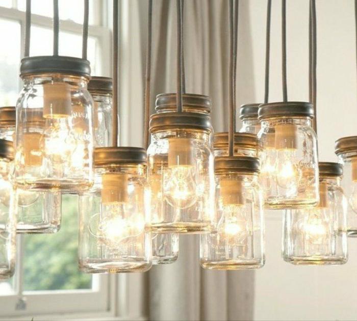 DIY Lampenschirm-Modell aus Gläsern mit Metalldeckel, glühendes Licht, Glühbirnen
