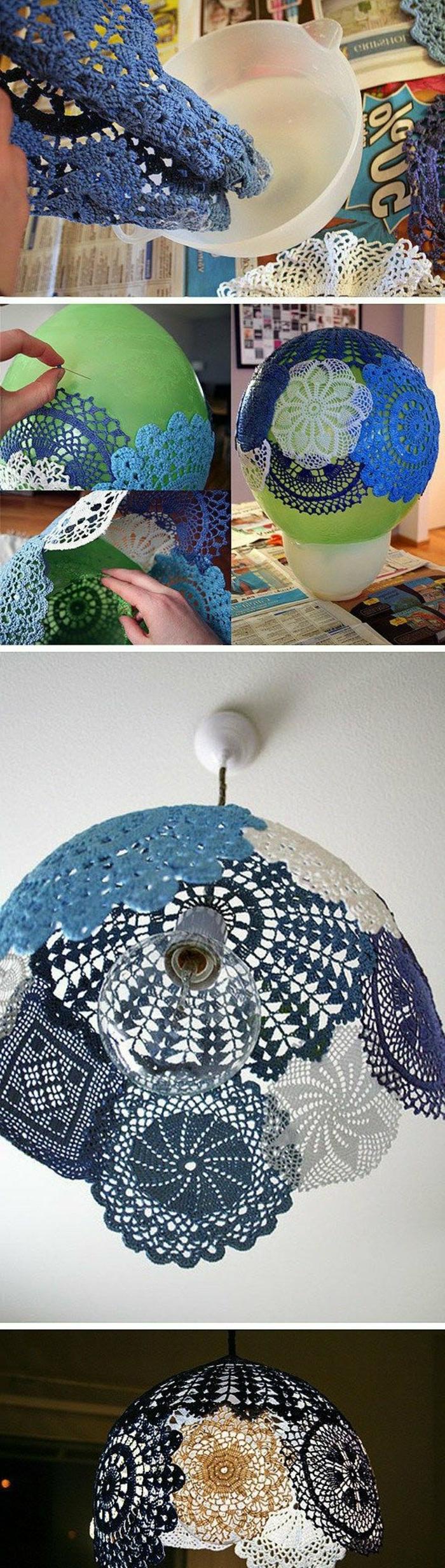 eine Idee für DIY Lampenschirm aus gefärbter Spitze, ein grüner Ballon, eine Schüssel mit Klebstoff