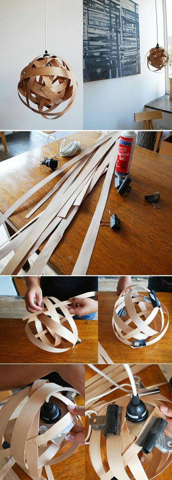 einfaches Modell DIY Lampenschirme aus Furnierblatt, geschnitten in Streifen