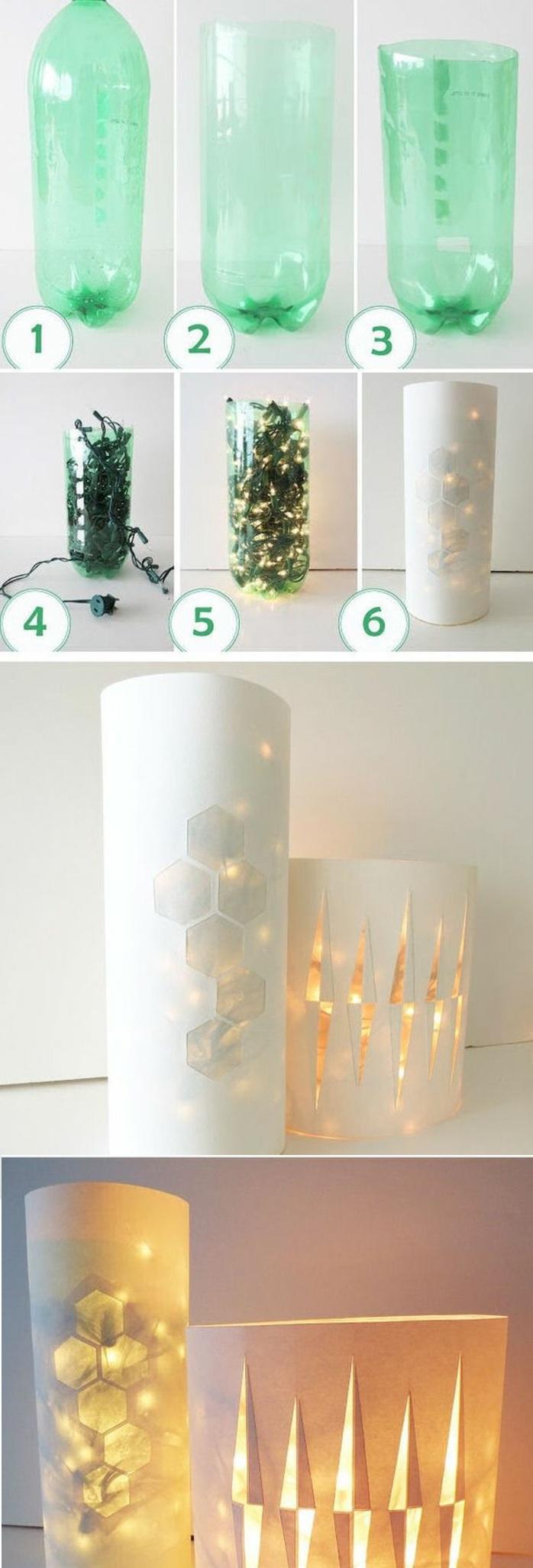 grüne plastikflasche, weihnachtslampen, weißes papier