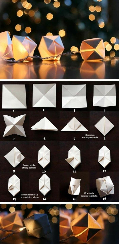 kleine origami laternen aus weißem papier selber machen