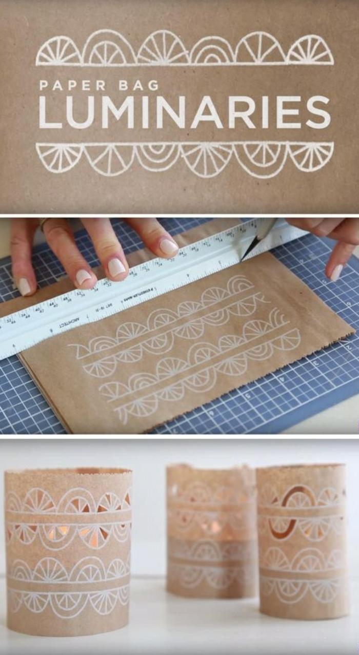 beige laternen mit weißen ornamenten aus papiertasche machen