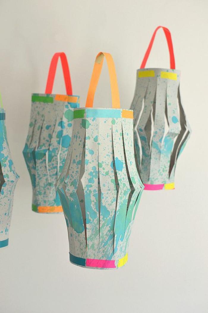 bunte laternen aus papier, hängende deko, washi tapes