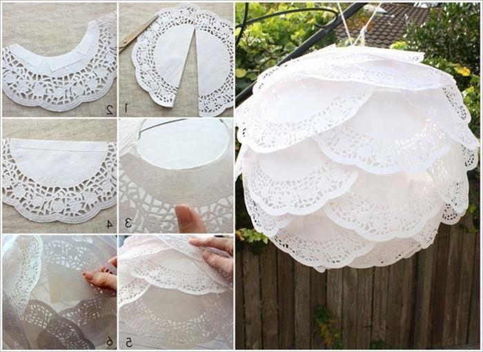 großer, runder, weißer lampenschirm aus papier selber machen