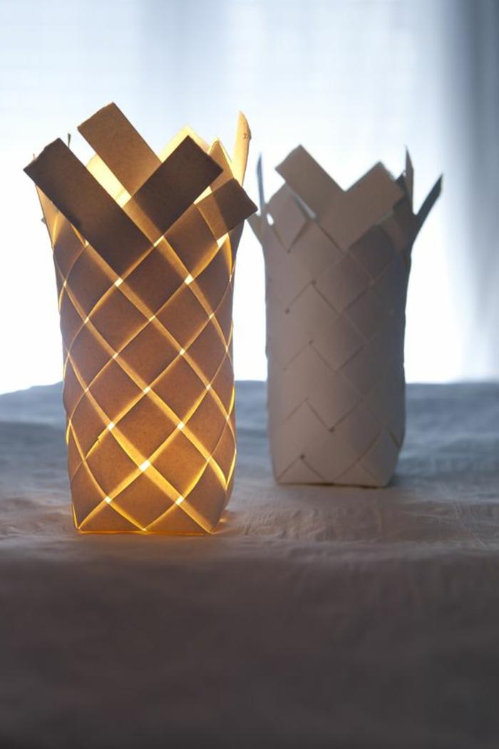 runde, weiße, geflochtene papierlaternen selber machen, papierstreifen