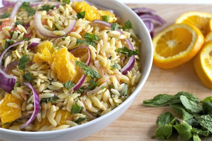 leckere vegetarische rezepte mit orzo zwiebel orange petersilie kräuter minze gewürze ideen