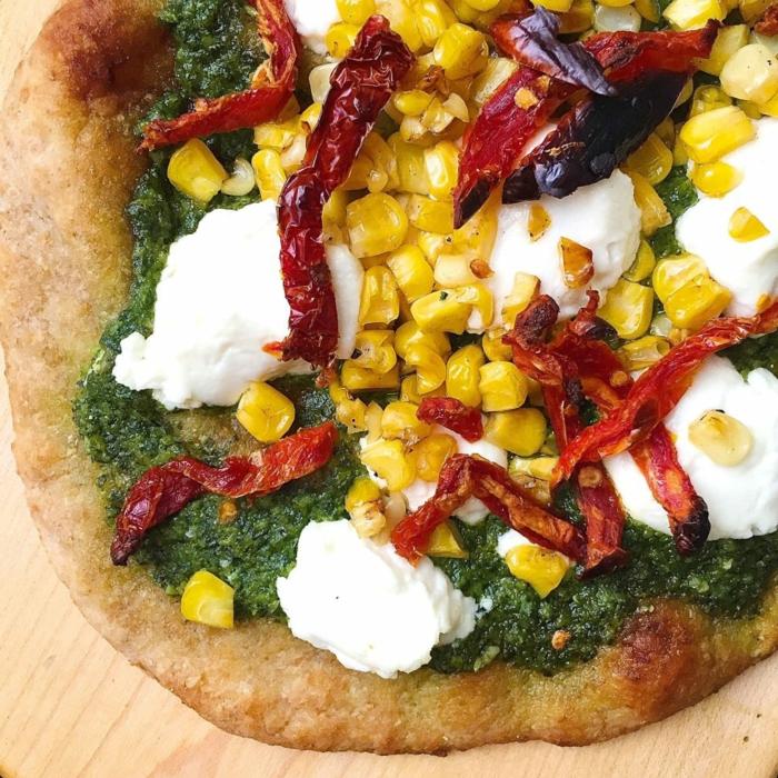 rezept vegetarisch weitere ideen pesto soße mozzarella paprika gebraten mais deko und zutaten