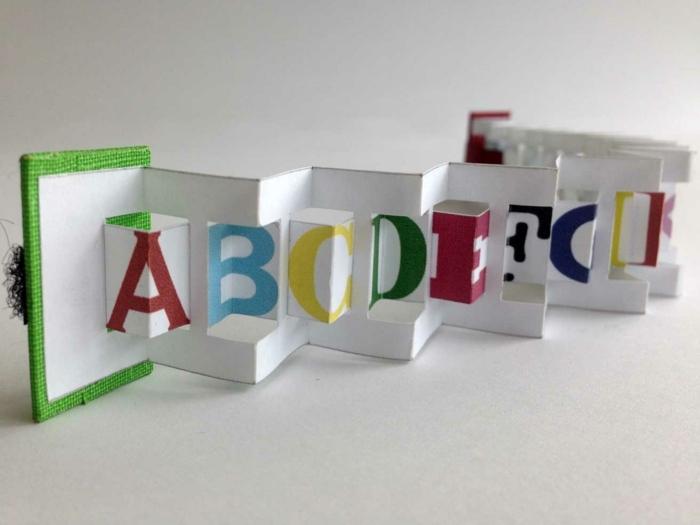 Faltbuch mit den Buchstaben aus Alphabet in unterschiedlichen Farben mit grünen Umschlag