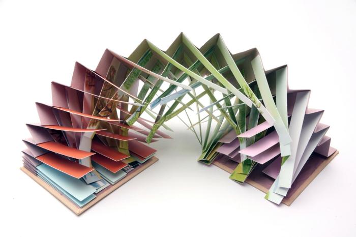 innovatives Faltbuch wie einen Regenbogen ausgeschnitten in grün, lila, rot, rosa