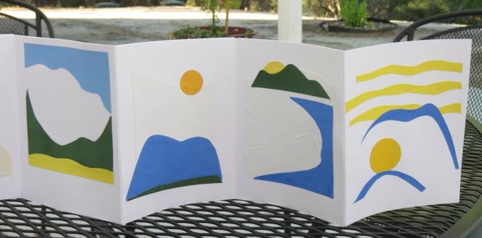 Ein Faltbuch das die Kinder mit einer Geschichte von Sonne beklebt haben