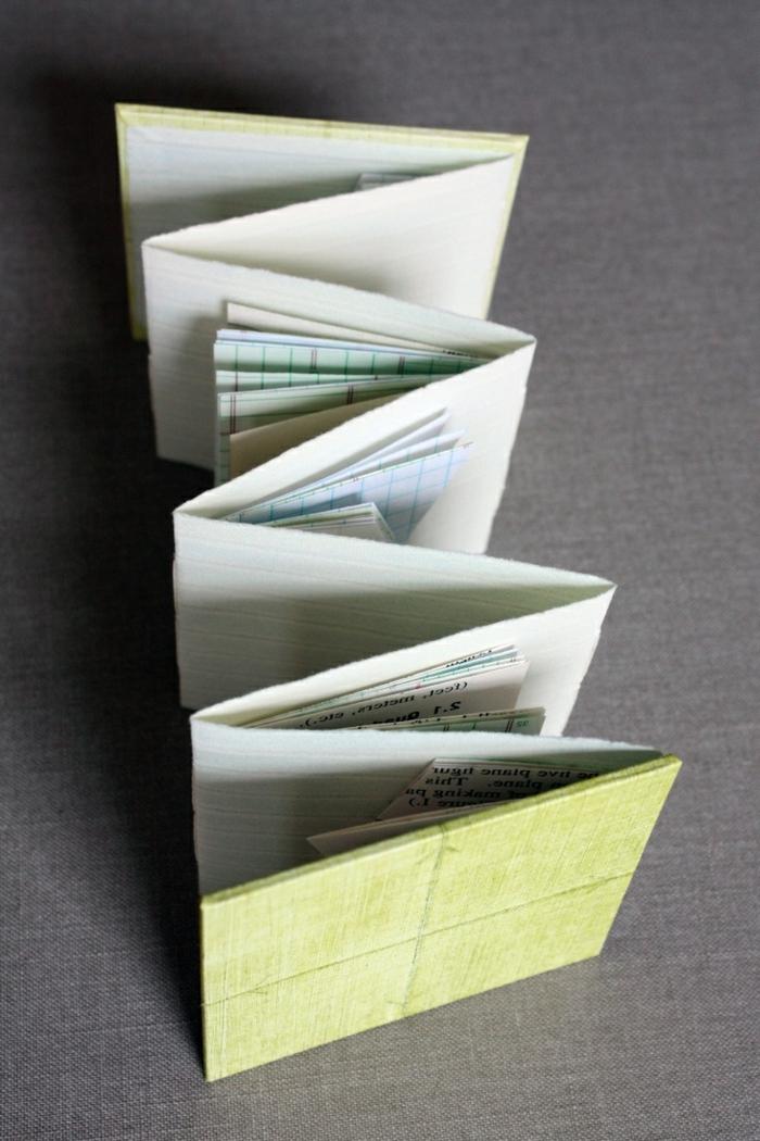 Flyer falten indem kleinere Papiere dazwischen stecken - grüner Umschlag