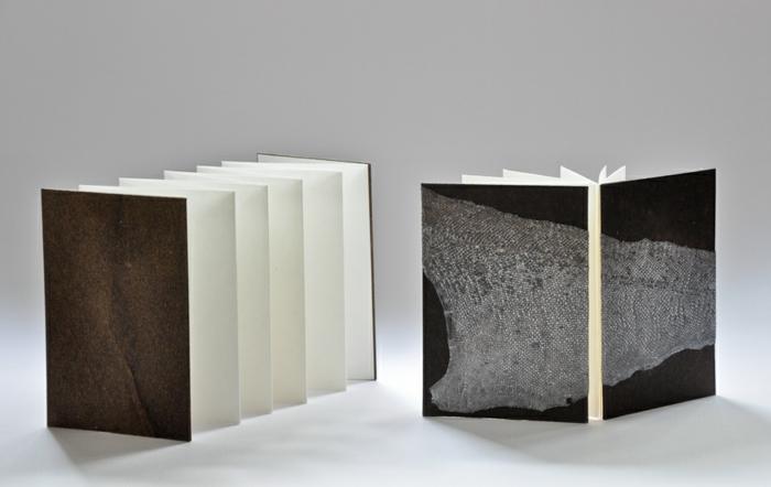 Leporello selber machen in schwarzer und brauner Farbe mit weißen Blättern