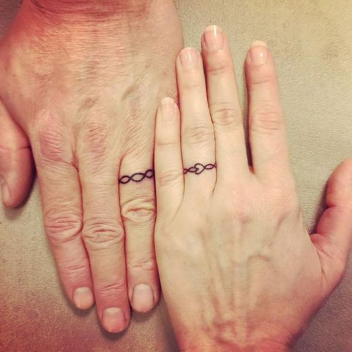 Colored Wedding Ring Tattoos: 57 Cool Tattoos For Couples That Symbolize Eternal Love