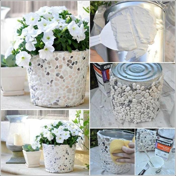 basteln mit blumentöpfen blumentopf design mit steinen dezente ideen zum bewundern weiße blumen kleber
