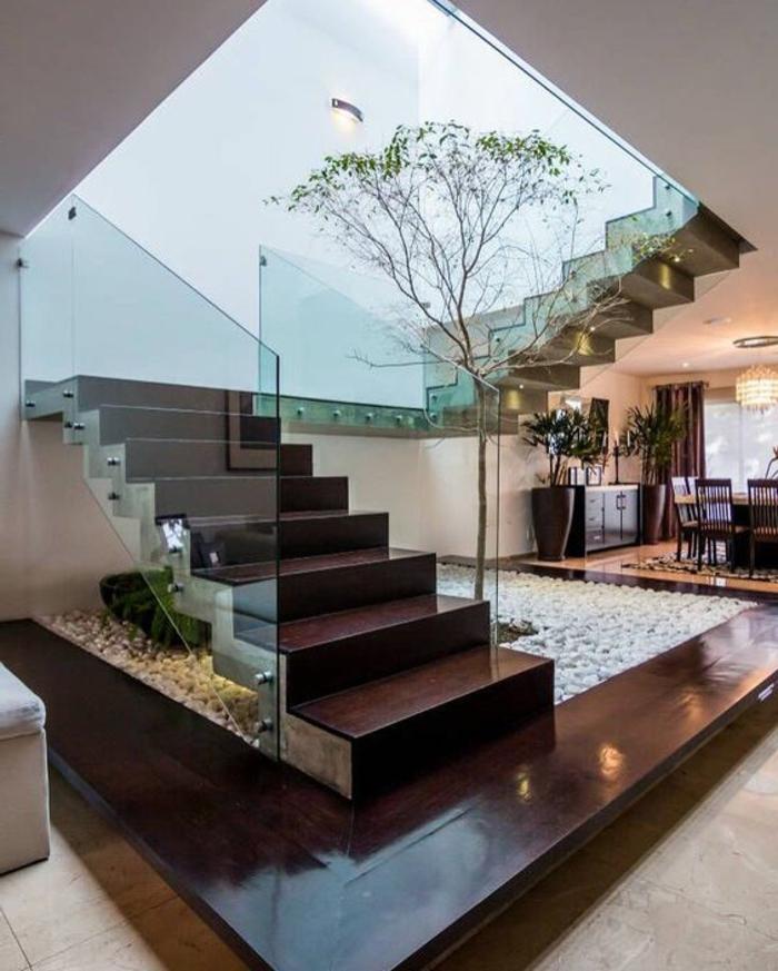 Treppenbereich Modern Gestalten Kieselstein Und Holzoptik