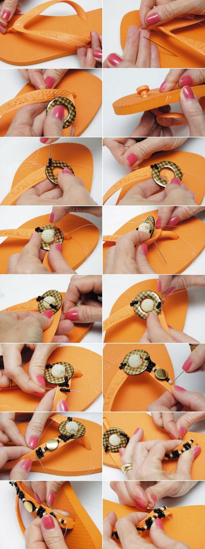 orange Flip Flops mit Glasperlen nähen zu verzieren und bequemer zu machen