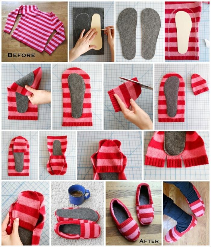 aus einem roten gestreiften Pullover Hausschuhe nähen in einigen Schritten