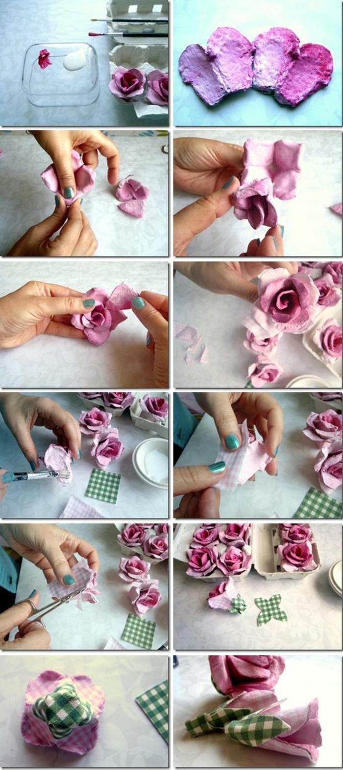 eine Anleitung wie Sie Blumen aus Eierkarton zur Ostern Tischdeko selber machen