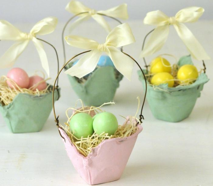 lustiges Eierkarton basteln, Körbchen mit bunte Eier in grün, gelb, blau und rosa