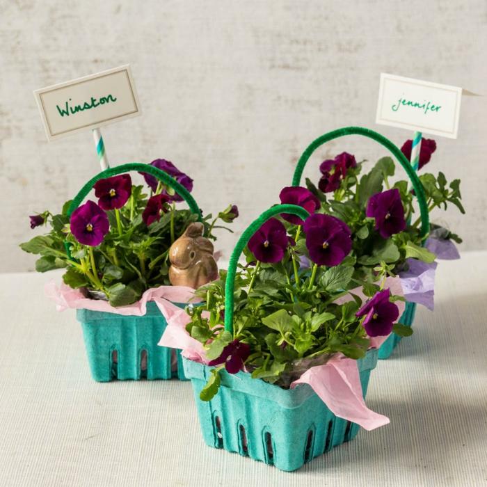 Für eine Gartenparty zu Ostern Eierschachtel wie Blumentöpfe mit Stiefmütterchen