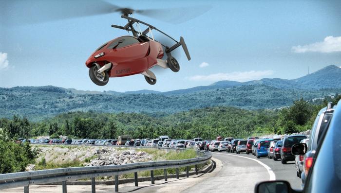 stau, viele autos, ein rotes fliegendes flugauto mit schwarzen propellern
