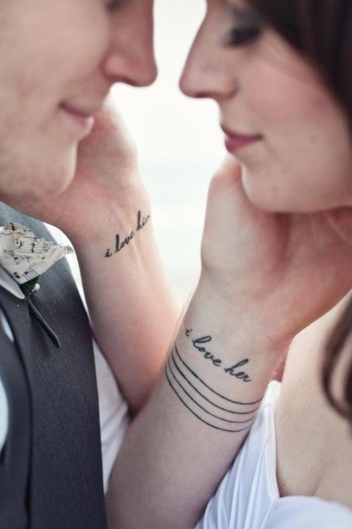 tattoos idee fuer paare, ich liebe sie, ich liebe ihn, kleine arm tattoos fuer partner
