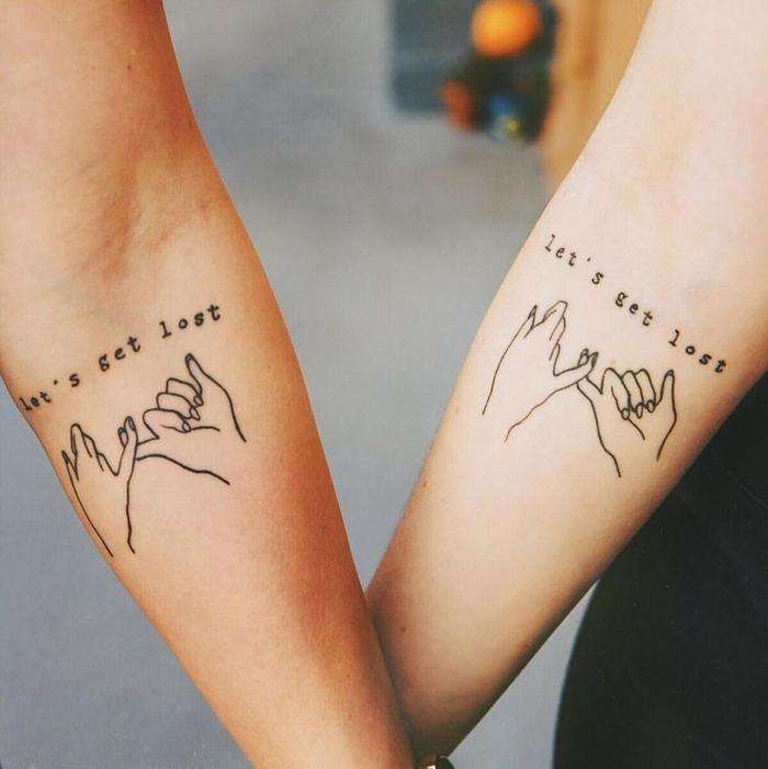 tattoos ideen fuer partner, schoen und kreativ, arm tattos, finger, spruch