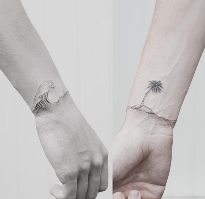 tattoos, die sich ergaenzen, welle und insel, kreative idee fuer paare, sommer