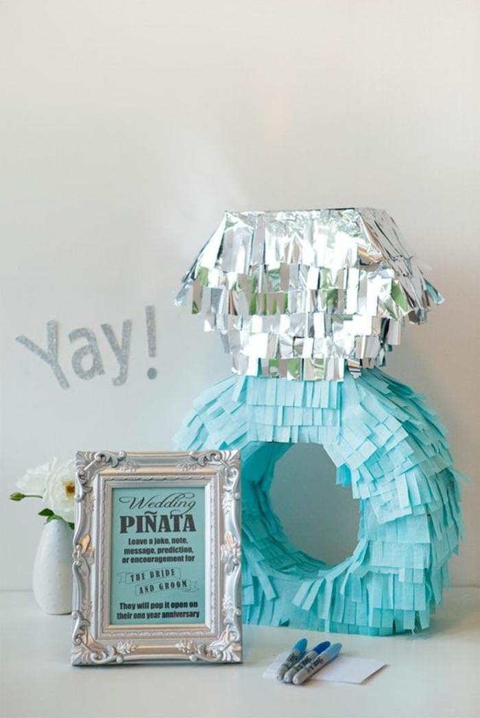 großer blauer ring mit silbernem diamant, bild, vase, blumen