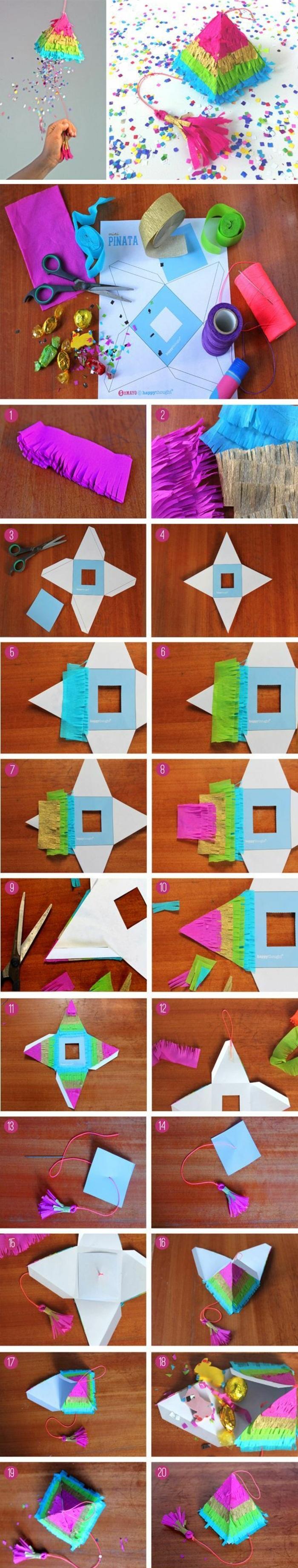 kleine pyramide aus karton selber machen, buntes papier, schere
