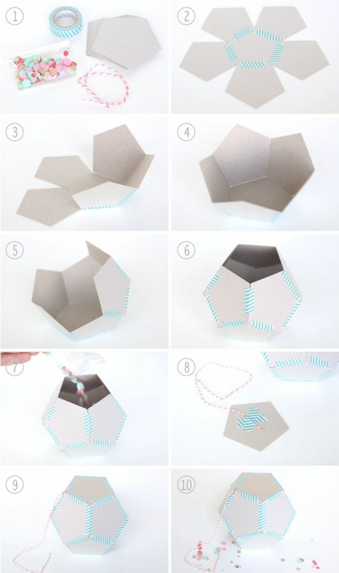geometrische figur aus karton selber machen, washi tape, bonbons