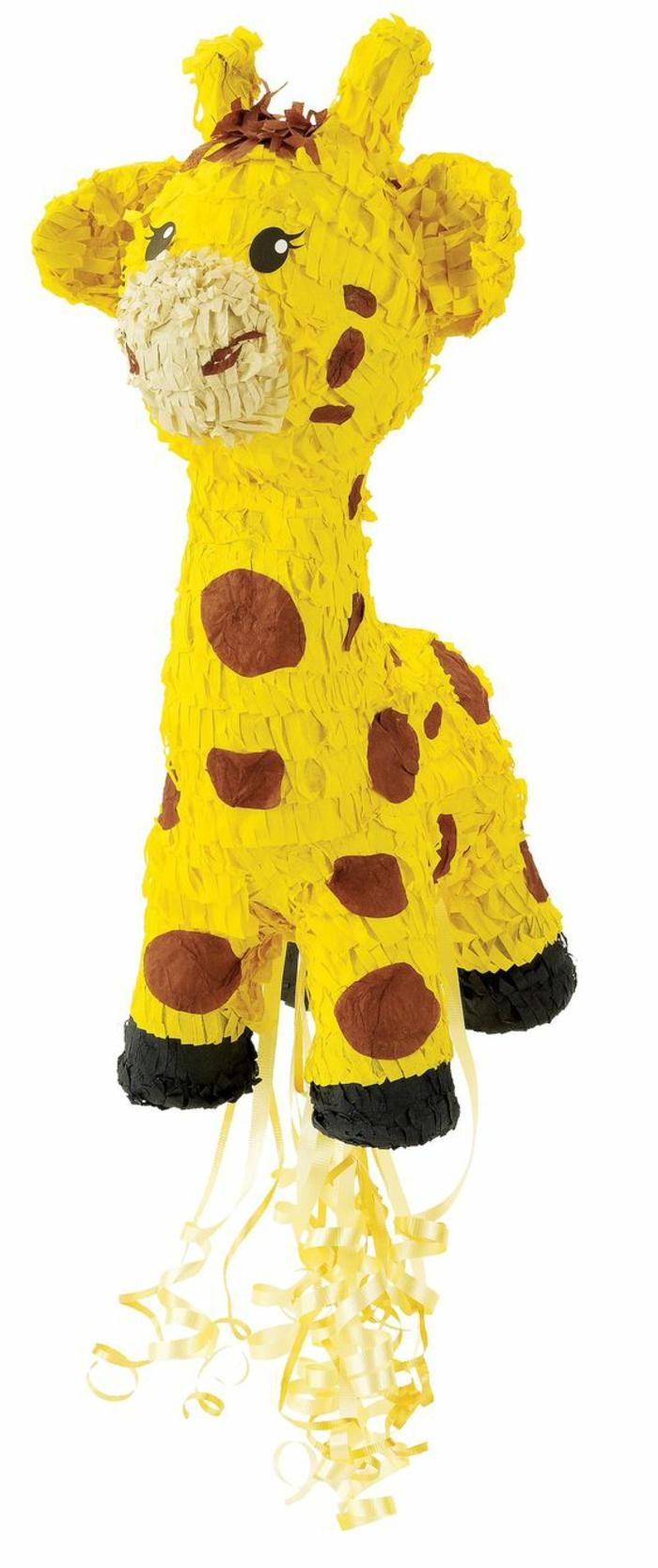 pinata-giraffe, gelbe schleife, papier, kinderparty