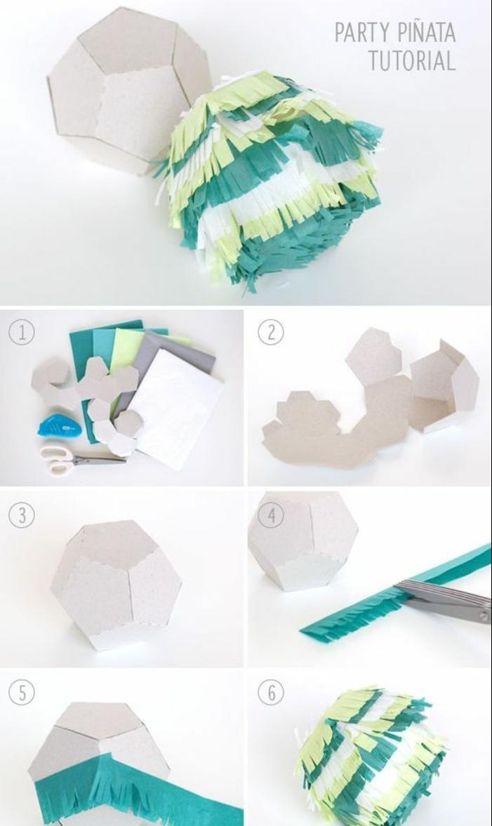 geometrische figur aus karton, grünes papier, diy