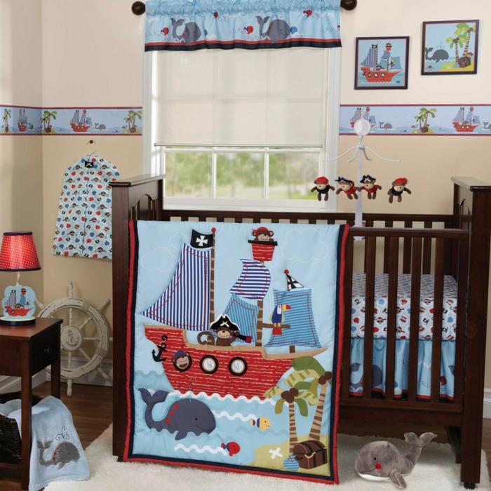 Babyzimmer Pirat mit Affen Piraten Wandbilder mit Schiffen und Inseln