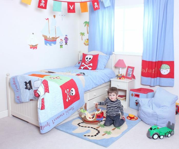 Schatzkarte Teppich Totenkopf Bettwäsche kleiner Stuhl Wandtatoo mit Schiffe - Kinderzimmerdeko