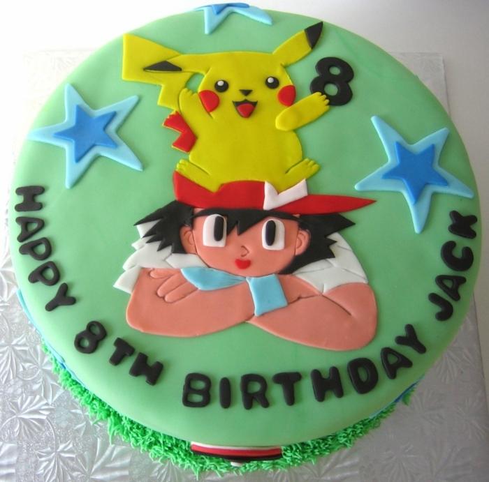 grüne pokemon torte - ein gelbes pikachu, zwei blaue sterne, junge mit einer roten mütze