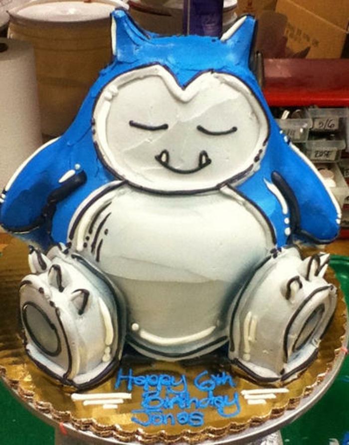 eine blaue pokemon torte - eine tolle idee - hier ist ein blaues pokemon wesen mit einem weißen bauch
