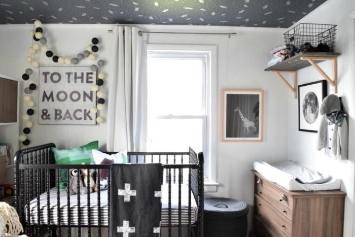 baby kinderzimmer für junge oder mädchen, schwarz weißes design in skandinavischer optik, elegant, simples design und sehr trendy