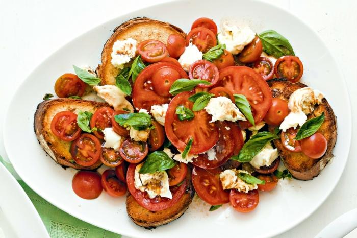 vegetarische gerichte einfaches und schnelles rezept vegetarier tomaten moyyarella basilikum brot